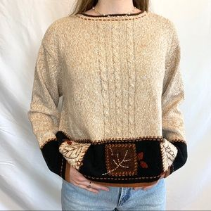 Cabin Creek sweater with fall leaves